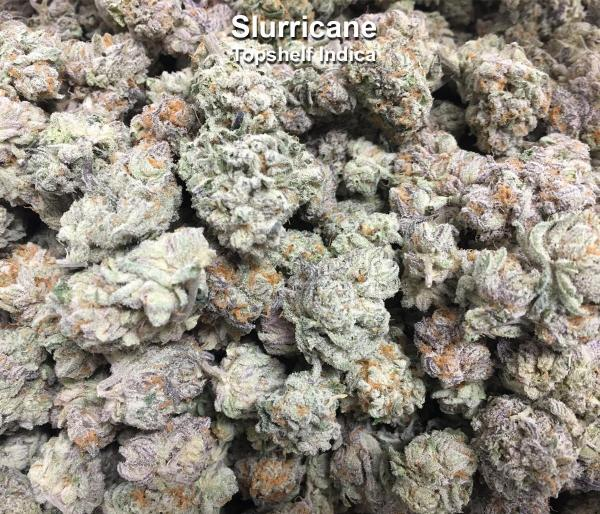 Slurricane crosses Do-Si-Dos and Purple Punch. This pungent, indica-dominant hybrid's terpene profile pushes heavy aromas of creamy OG with undertones of tropical blueberries... (Flower)