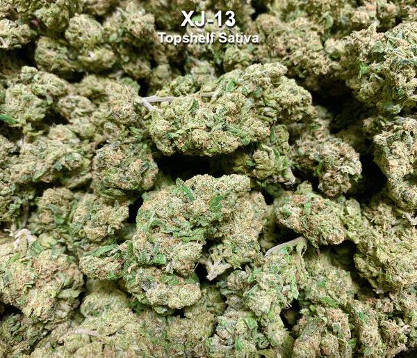 XJ-13 is a sativa-dominant strain cherished for both its therapeutic potency and enjoyable euphoric buzz. This hybrid cross of Jack Herer and G13 Haze induces unencumbered cere... (Flower)